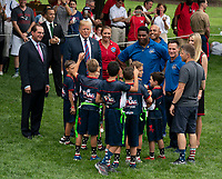 United States president Donald J. Trump, Misty May-Treanor and Herschel Walker chat with kids attending the White House Sports and Fitness Day at the White House in Washington, DC, May 30, 2018. <br /> CAP/MPI/RS<br /> &copy;RS/MPI/Capital Pictures
