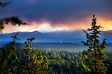 USA, Oregon, Bend, the smoke of the two bulls fire near Bend billows into the sky, turning it an array of colors