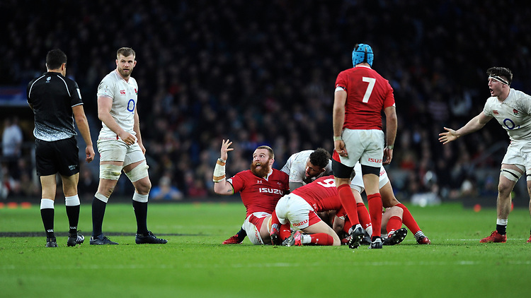 Jake Ball of Wales protests during the Guinness Six Nations match between England and Wales at Twickenham Stadium on Saturday 7th March 2020 (Photo by Rob Munro/Stewart Communications)