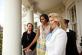 First Lady Michelle Obama hosts First Lady Svetlana Medvedeva of Russia on the Truman Balcony of the White House, Thursday, June 24, 2010. .Mandatory Credit: Lawrence Jackson - White House via CNP