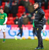 1st March 2020; McDairmid Park, Perth, Perth and Kinross, Scotland; Scottish Premiership Football, St Johnstone versus Celtic; Coach Damian Duff oversees the warm up