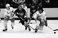 Seals vs Pittsburg Penguins 1975. Seals John Stewart and Wayne King, and Penguin Kelly Pratt. (photo/Ron Riesterer)