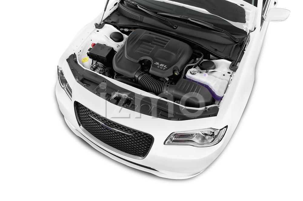 Car stock 2018 Chrysler 300 Limited 4 Door Sedan engine high angle detail view