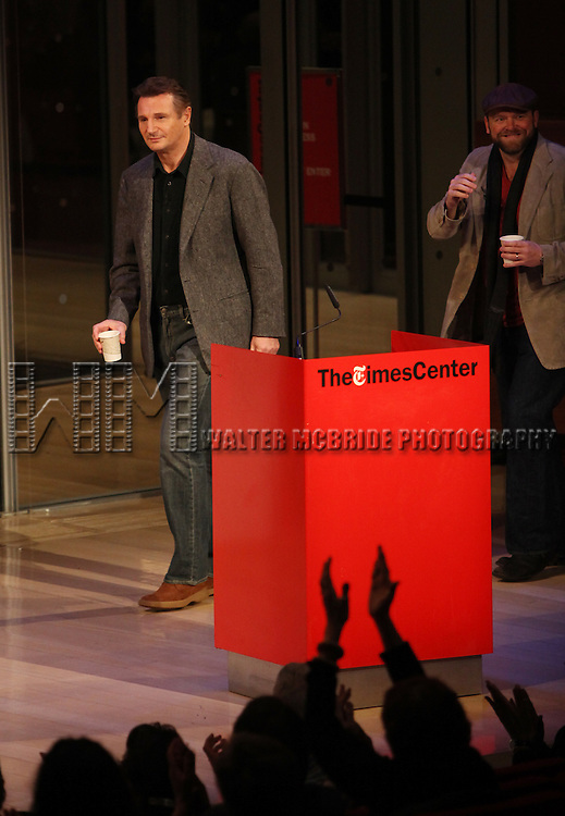 Liam Neeson & Joe Carnahan interviewed by David Carr at Times Talks in the Times Center, New York City on 1/17/2012