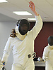 Bridget Strysko of Garden City reacts after besting Macy Meng of Great Neck South in epee 5-4 during a fencing meet at Garden City High School on Saturday, Jan. 9, 2016.