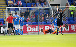 St Johnstone v Dundee...13.09.14  SPFL<br /> Thomas Konrad (not in pic) loops the ball over Alan Mannus to give Dundee the lead<br /> Picture by Graeme Hart.<br /> Copyright Perthshire Picture Agency<br /> Tel: 01738 623350  Mobile: 07990 594431