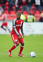 22 October 2011: Toronto FC defender Ashtone Morgan #5 in action during a game between the New England Revolution and Toronto FC at BMO Field in Toronto..The game ended in a 2-2 draw.