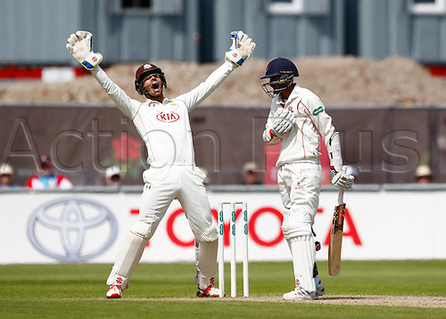 23.05.2016. Old Trafford, Manchester, England. Supersavers County Championship. Lancashire versus Surrey. Surrey wicket-keeper Ben Foakes appeals for the wicket of Lancashire batsman Haseeb Hameed but it is not given.