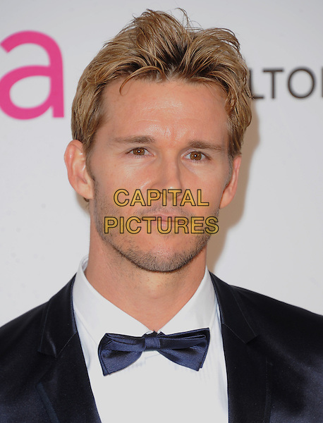 Ryan Kwanten.The 21st Annual Elton John AIDS Foundation Academy Awards Viewing Party held at The City of West Hollywood Park in West Hollywood, California, USA..February 24th, 2013.oscars headshot portrait black white bow tie tuxedo blue stubble facial hair .CAP/DVS.©DVS/Capital Pictures.