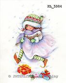 Interlitho, CHRISTMAS CHILDREN, paintings+++++,girl,stripped socks,KL5984,#xk#