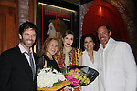 Opening Night of Manipulation - Robert Bogue & Saundra Santiago pose with (L to R) castmate Brandan McMahon, author Victoria E. Calderon and costar Marina Squerciati on June 28, 2011 at the Cherry Lane Theatre, New York City, New York. (Photo by Sue Coflin/Max Photos)