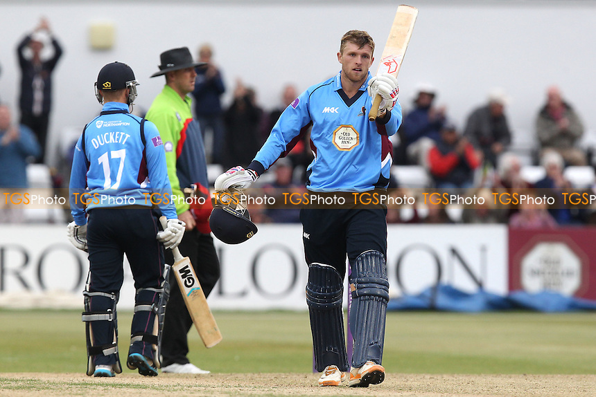David Willey of Northants celebrates his century - Northamptonshire Steelbacks vs Essex Eagles - Royal London One-Day Cup at the County Ground, Northampton - 21/08/14 - MANDATORY CREDIT: Gavin Ellis/TGSPHOTO - Self billing applies where appropriate - contact@tgsphoto.co.uk - NO UNPAID USE