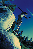 Woman, Scenic, Happiness, Active Lifestyle, Summer, Trail Running, Jogging, Boulders, Sports, Exercise, Training, Fitness, Cross Process, Jumping, Forest, Wilderness. Melissa Terhorst (MR 615). Backcountry Colorado United States Rocky Mountains, Summit Co