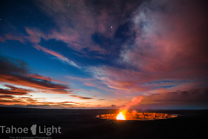 Since flowing lava is currently not visible, the next best thing, and if you have never seen a living volcano before, a truly spectacular thing, is to view Halema'uma'u Crater by night at Volcanoes National Park on the big island of Hawaii. One of my main goals was seeing lava moving down to the sea, unfortunately at present the lava flow on Hawaii is tiny and on inaccessible private property.