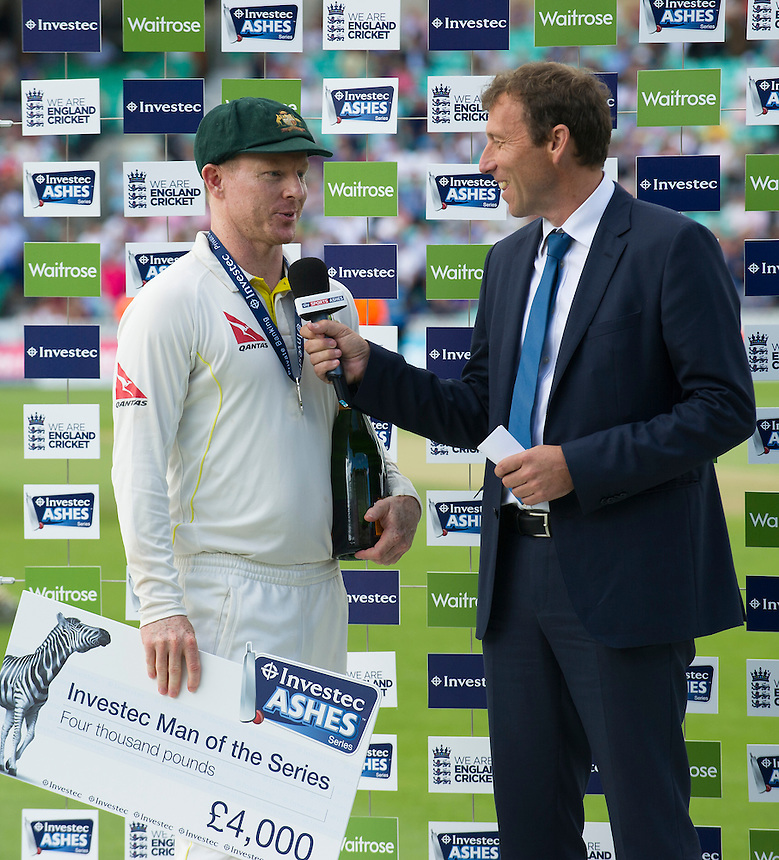 Michael Atherton (right) interviews Chris Rogers - voted Australia's player of the series<br /> <br /> Photographer Ashley Western/CameraSport<br /> <br /> International Cricket - Investec Ashes Test Series 2015 - Fifth Test - England v Australia - Day 4 - Sunday 23rd August 2015 - Kennington Oval - London<br /> <br /> &copy; CameraSport - 43 Linden Ave. Countesthorpe. Leicester. England. LE8 5PG - Tel: +44 (0) 116 277 4147 - admin@camerasport.com - www.camerasport.com