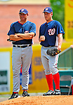 16 March 2009: Washington Nationals' pitcher Jordan Zimmermann (right) stands with bullpen coach Randy Knorr (left) during a Spring Training game against the Florida Marlins at Roger Dean Stadium in Jupiter, Florida. The Nationals defeated the Marlins 3-1 in the Grapefruit League matchup. Mandatory Photo Credit: Ed Wolfstein Photo