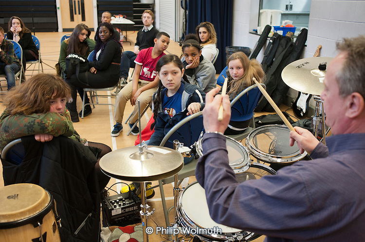 Community music project at the Stowe Youth Club, part of the Royal Philharmonic Orchestra's Resound outreach programme.  Rehearsals and performance sessions were held during half-term, supported by the discretionary budgets of Westminster Council's Queen's Park, Harrow Rd, Westbourne, and Church Street wards.