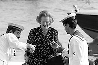 - British Prime Minister Margaret Thatcher during the summit G7 in Venice in June 1980....- ll Primo Ministro inglese Margaret Thatcher durante il summit G 7 a Venezia nel giugno 1980