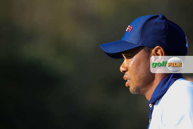 Tiger Woods (Team USA) during the Saturday Fourballs at the Ryder Cup, Le Golf National, Paris, France. 29/09/2018.<br /> Picture Phil Inglis / Golffile.ie<br /> <br /> All photo usage must carry mandatory copyright credit (© Golffile   Phil Inglis)