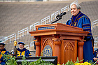 May 20, 2018; Sister Norma Pimentel, M.J. gives the Laetare Medal address at the 2018 Commencement Ceremony. (Photo by Matt Cashore/University of Notre Dame)