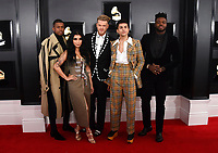 Matt Sallee, from left, Kirstin Maldonado, Scott Hoying, Mitch Grassi and Kevin Olusola of Pentatonix arrives at the 61st annual Grammy Awards at the Staples Center on Sunday, Feb. 10, 2019, in Los Angeles. (Photo by Jordan Strauss/Invision/AP)