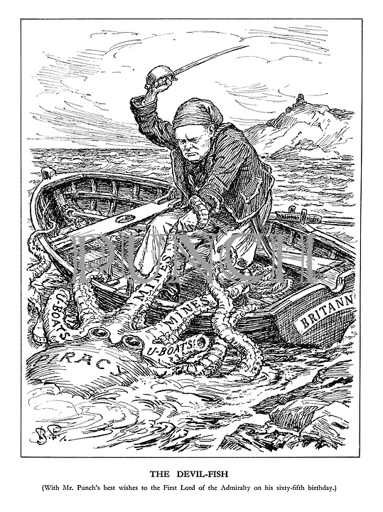 The Devil-Fish (With Mr. Punch's best wishes to the First Lord of the Admiralty on his sixty-fifth birthday.) (Churchill as a sailor aboard the boat Britannia cuts the tentacles 'U-Boats' and 'Mines' from the Piracy octopus)
