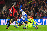 Ivan Toney of Wigan Athletic looks lot be fouled by Adam Smith of AFC Bournemouth but no penalty was given   during AFC Bournemouth vs Wigan Athletic, Emirates FA Cup Football at the Vitality Stadium on 6th January 2018