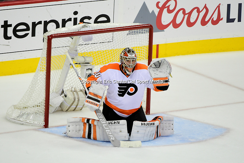 Friday, April 22, 2016: Philadelphia Flyers goalie Michal Neuvirth (30) tends net during game 5 of the first round of the National Hockey League Eastern Conference playoffs  between the Philadelphia Flyers and the Washington Capitals held at the Verizon Center in Washington, DC. The Flyers defeat the Capitals 2-0. Eric Canha/CSM