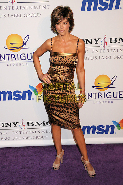 LISA RINNA.Clive Davis 2008 Pre-Grammy Awards Party at the Beverly Hilton Hotel, Beverly Hills, California, USA..February 9th, 2008.full length leopard print dress hand on hip.CAP/ADM/BP.©Byron Purvis/Admedia/Capital Pictures