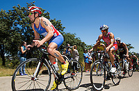 02 JUN 2013 - MADRID, ESP - Aaron Harris (GBR) (left) of Great Britain leads a pack during the bike at the men's ITU 2013 World Triathlon Series round in Casa de Campo, Madrid, Spain  <br /> (PHOTO (C) 2013 NIGEL FARROW)
