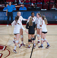 STANFORD, CA - December 1, 2018: Tami Alade, Jenna Gray,Audriana Fitzmorris, Morgan Hentz, Jenna Gray, Meghan McClure at Maples Pavilion. The Stanford Cardinal defeated Loyola Marymount 25-20, 25-15, 25-17 in the second round of the NCAA tournament.