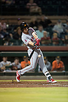 Mesa Solar Sox first baseman David MacKinnon (20), of the Los Angeles Angels organization, swings at a pitch during an Arizona Fall League game against the Scottsdale Scorpions on October 9, 2018 at Scottsdale Stadium in Scottsdale, Arizona. The Solar Sox defeated the Scorpions 4-3. (Zachary Lucy/Four Seam Images)