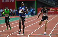 08 JUL 2011 - PARIS, FRA - Usain Bolt wins the men's 200m race at the Meeting Areva round of the Samsung Diamond League ahead of Mario Forsythe (left) and Christophe Lemaitre (right) .(PHOTO (C) NIGEL FARROW)