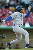 Anthony Webster of the Stockton Ports bats during a 2004 season California League game against the High Desert Mavericks at Mavericks Stadium in Adelanto, California. (Larry Goren/Four Seam Images)