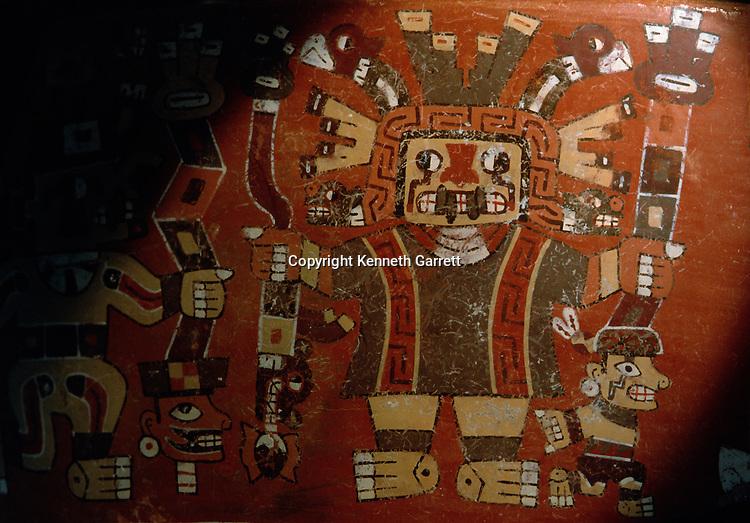 Staff god on Wari pottery sherd, god of lightening, rain and crops, Empires of the Sun; Peru; Wari; Huari, Conchopata Site.