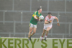Paul Murphy, Kerry in action against Conor Grogan Tyrone in the fourth round of the National Football league at Fitzgerald Stadium, Killarney on Sunday.