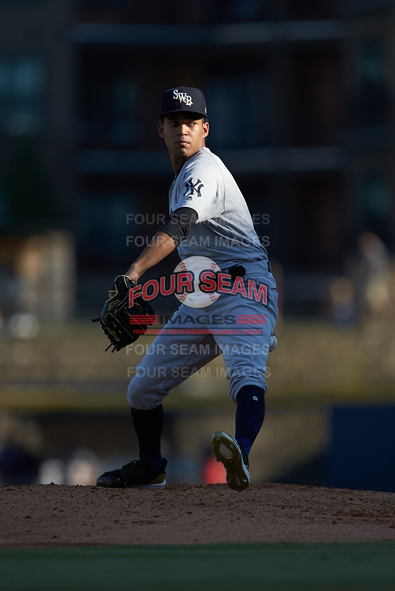 Scranton/Wilkes-Barre RailRiders starting pitcher Deivi Garcia (4) in action against the Gwinnett Stripers at BB&T BallPark on August 18, 2019 in Lawrenceville, Georgia. The RailRiders defeated the Stripers 9-3. (Brian Westerholt/Four Seam Images)