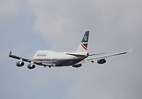 A British Airways Boeing 747-436 Registration G-BNLY named City of Swansea in Landor (1984-1997) retro livery departing London Heathrow Airport on runway 27R on 2.8.19 going to Accra Kotoka International Airport, Ghana.
