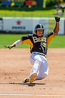 Jefry Marte (24) of the Salt Lake Bees hustles towards third base against the Sacramento River Cats in Pacific Coast League action at Smith's Ballpark on May 01, 2016 in Salt Lake City, Utah. Sacramento defeated Salt Lake 16-6.  (Stephen Smith/Four Seam Images)