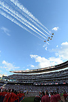 General view,<br /> JULY 15, 2014 - MLB :<br /> Jets perform a flyover as players line up during the pre-game ceremony before the 2014 Major League Baseball All-Star Game at Target Field in Minneapolis, Minnesota, United States. (Photo by AFLO)