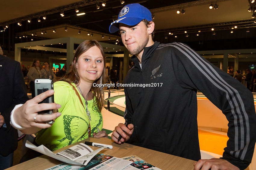 ABN AMRO World Tennis Tournament, Rotterdam, The Netherlands, 14 februari, 2017, Dominic Thiem (AUT)<br /> Photo: Henk Koster