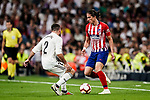Filipe Luis of Atletico de Madrid (R) in action against Daniel Carvajal of Real Madrid (L) during their La Liga  2018-19 match between Real Madrid CF and Atletico de Madrid at Santiago Bernabeu on September 29 2018 in Madrid, Spain. Photo by Diego Souto / Power Sport Images