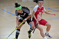 Thailand&rsquo;s Kanya Jantapet and Singapore&rsquo;s Amanda Yeap in action during the World Floorball Championships 2017 Qualification for Asia Oceania Region - Singapore v Thailand at ASB Sports Centre , Wellington, New Zealand on Sunday 5 February 2017.<br /> Photo by Masanori Udagawa<br /> www.photowellington.photoshelter.com.
