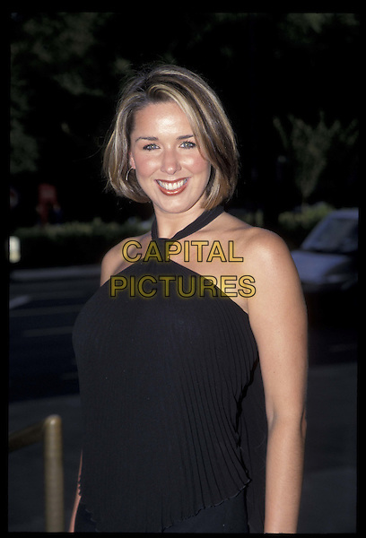 CLAIRE SWEENEY.23 July 2002.Ref: 11749.halterneck, half length, half-length.*RAW SCAN- photo will be adjusted for publication*.www.capitalpictures.com.sales@capitalpictures.com.©Capital Pictures