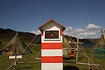A model of a light house stands at the Úlfljótsvatn camp site, 45 km from Reykjavik, where the 2012 International Scout Jamboree was held in 2012.