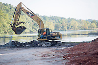 NWA Democrat-Gazette/J.T. WAMPLER Excavation work continues Thursday Sept. 10, 2015 at Lake Atalanta in Rogers. The lake is getting a complete renovation including a trail around the lake and new playground and picnic facilities. The lake is closed to the public until the project is completed sometime next year.<br />  The Works Projects Administration began construction on Lake Atalanta in 1936. The dam was one of 36 dams built in Arkansas between 1930-37.