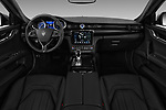 Stock photo of straight dashboard view of a 2017 Maserati Quattroporte S 4 Door Sedan