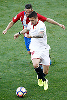 Atletico de Madrid's Koke Resurrecccion (b) and Sevilla FC's Stevan Jovetic during La Liga match. March 19,2017. (ALTERPHOTOS/Acero) /NORTEPHOTO.COM