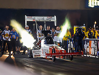 Jul 8, 2016; Joliet, IL, USA; NHRA top fuel driver T.J. Zizzo during qualifying for the Route 66 Nationals at Route 66 Raceway. Mandatory Credit: Mark J. Rebilas-USA TODAY Sports