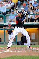 First baseman Freddie Freeman (5) of the Atlanta Braves bats in a Spring Training game against the New York Yankees on Wednesday, March 18, 2015, at Champion Stadium at the ESPN Wide World of Sports Complex in Lake Buena Vista, Florida. The Yankees won, 12-5. (Tom Priddy/Four Seam Images)